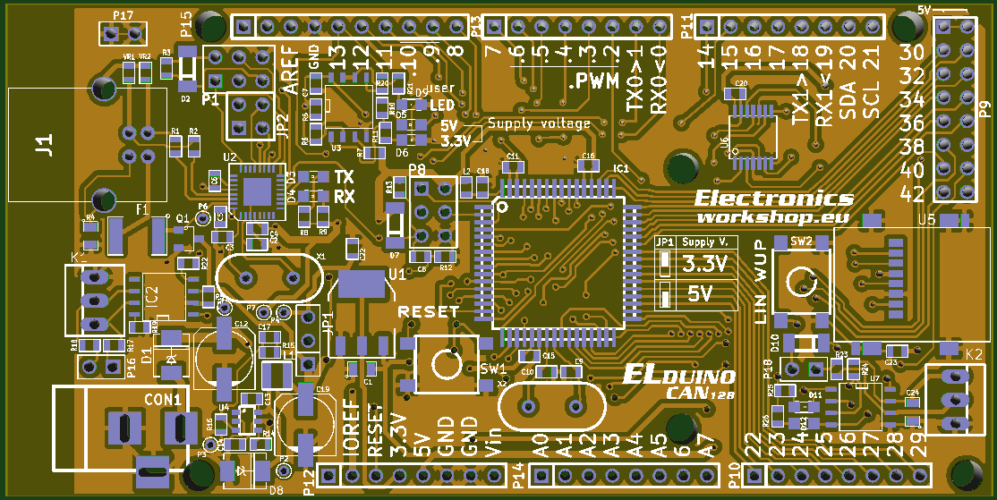 Elduino CAN128 - Arduino compatible board with CAN and LIN connectivity