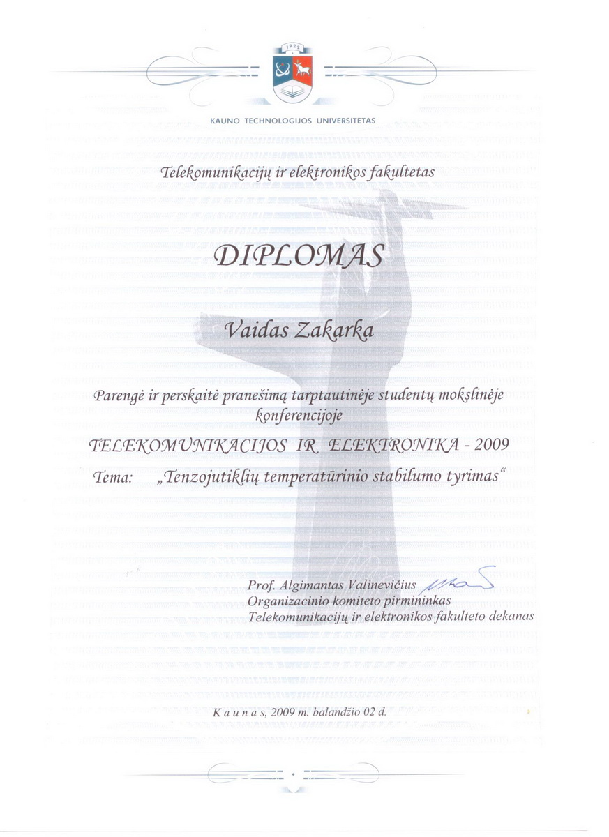"""Telecommunications and electronics 2009"" conference diploma"